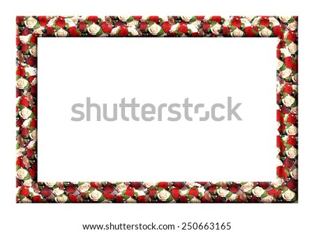 Blank photo frame with textured wedding roses on a white background