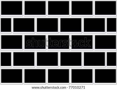 Blank photo frames background - stock photo