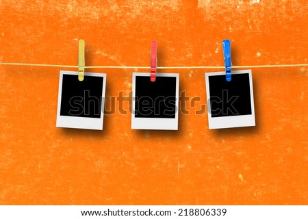 Blank Photo Frames In Line. - stock photo