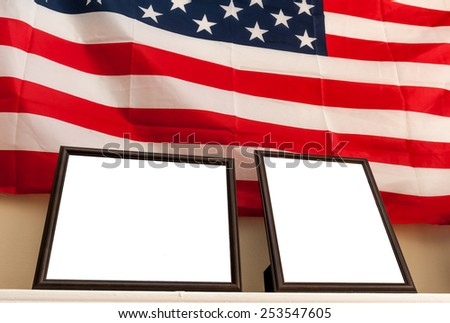 Blank photo frames on american flag background - stock photo