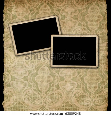 Blank photo frames on paper - stock photo
