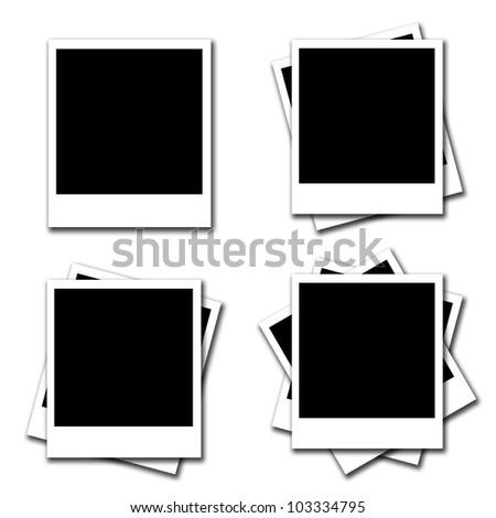 Blank photo frames on white background - stock photo