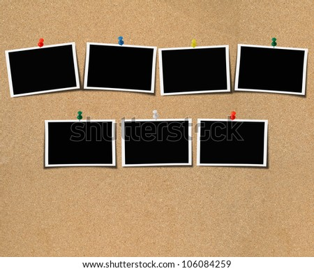 Blank photo on wooden plate material background plate. - stock photo