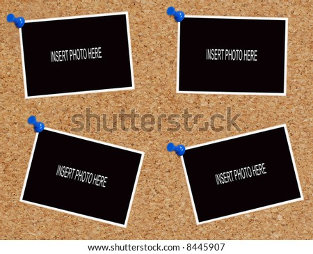 blank photos attached to cork board - insert your own images - stock photo