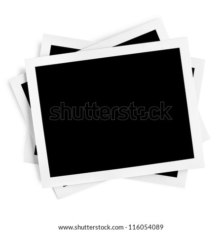 Blank Photos Frame over white Background With Clipping Path - stock photo