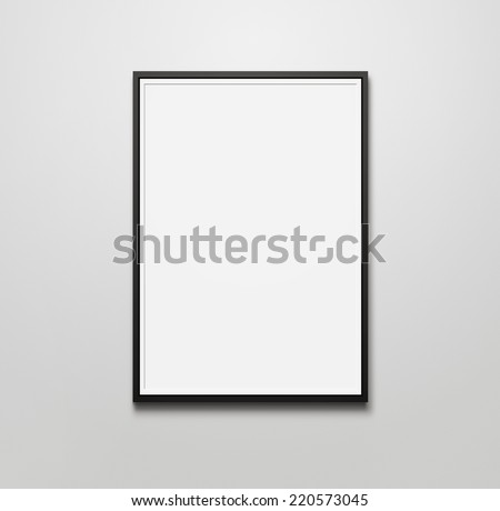Blank picture frame at the wall with copy space and clipping path for the inside - stock photo