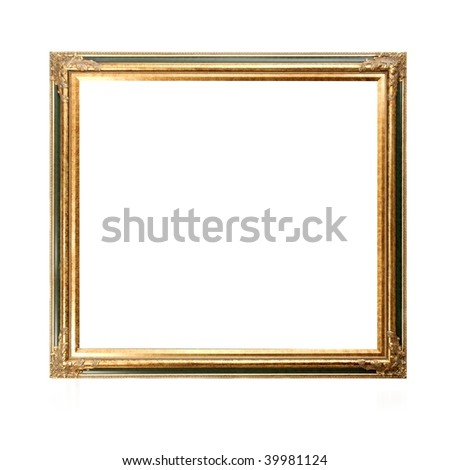 Blank picture frame isolated on white background - stock photo