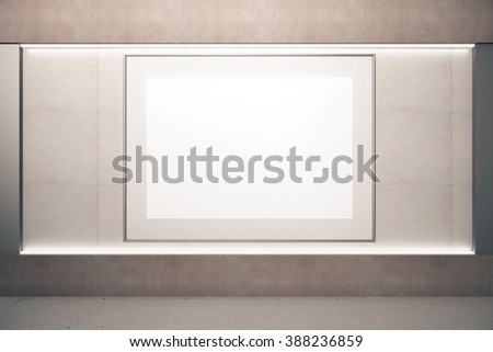 Blank picture frame on beige wall, 3D Render, mock up - stock photo