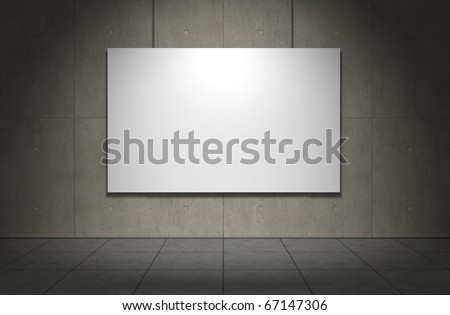 Blank picture frame on concrete wall. Copmuter generated image