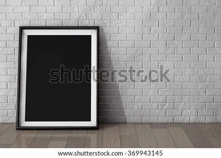 Blank Picture Frame on the Brick Wall and the Vintage Floor extreme closeup - stock photo