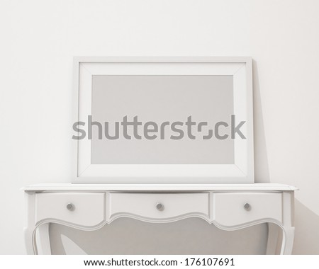 blank picture frame on the white desk and wall, background - stock photo