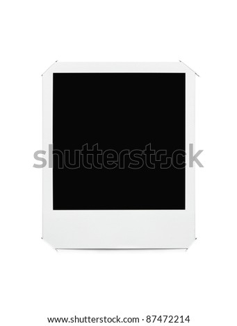 Blank picture frame stuck in album page with clipping path - stock photo