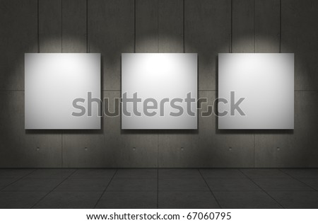 Blank picture frames. Copmuter generated image - stock photo