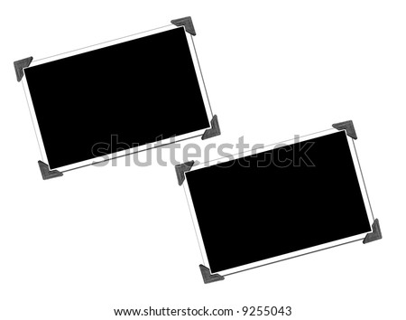Blank Picture with photo corners - stock photo