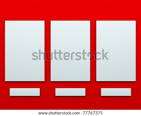 blank pictures on the wall - stock photo