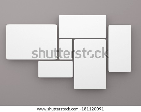 blank pictures on the wall, 3d render - stock photo