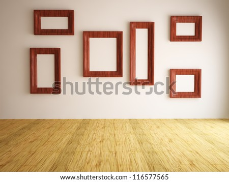 Blank pictures on the wall in the gallery - stock photo