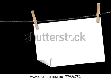 Blank Piece of Paper hanging from a rope