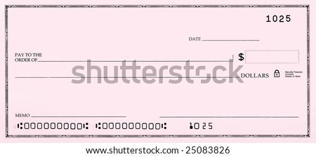 Blank pink check with fake numbers. - stock photo