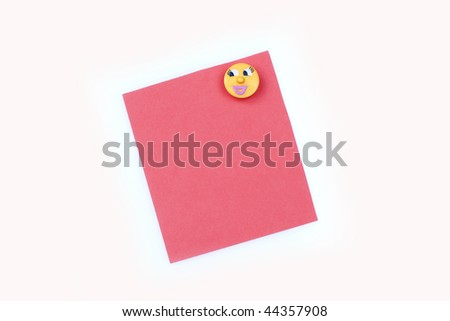 blank pink note with magnet - stock photo