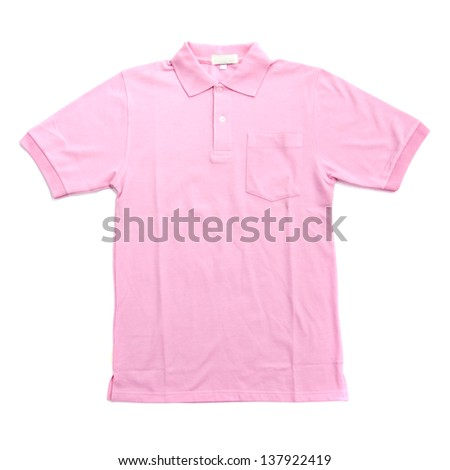 blank pink polo shirts. isolated on white background. Ready for your design or logo - stock photo