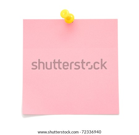 Blank pink post-it note isolated on white background - stock photo