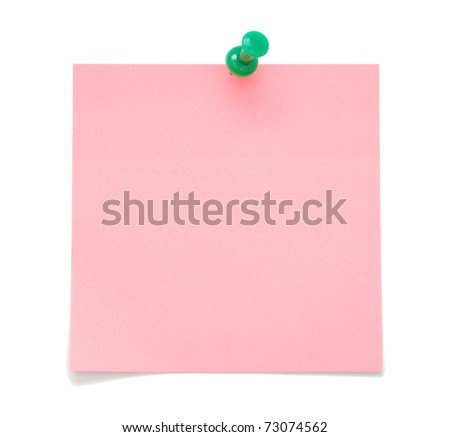 Blank pink sticky note with push pin isolated on white background - stock photo
