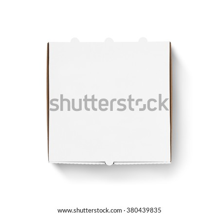 Blank pizza box design mock up top view isolated. Carton packaging pizza box delivery clear mockup. Carton template closed from above view. Meal food boxing logo presentation. - stock photo