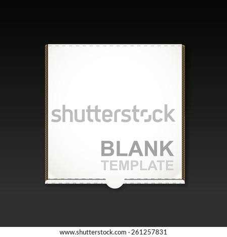 blank pizza box template isolated on black background - stock photo