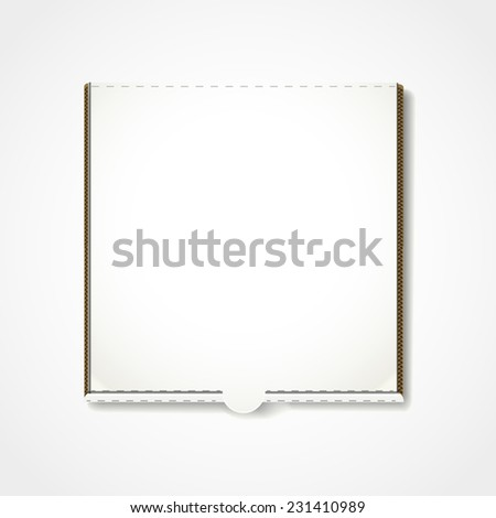 blank pizza box template isolated on white background - stock photo