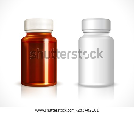 Blank plastic and glass bottle. Container clean, liquid medicine