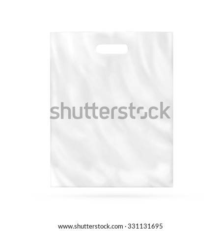 Blank plastic bag mock up isolated. Empty white polyethylene package mockup. Consumer pack ready for logo design or identity presentation. Commercial product food packet handle. Magazine market parcel - stock photo