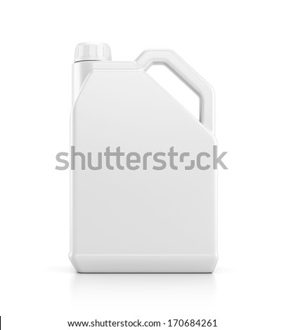 Blank plastic canister for motor oil isolated on white background with reflection effect - stock photo