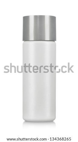 Blank plastic cosmetics bottle isolated on white background with copy space - stock photo