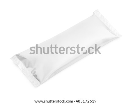 blank plastic pouch snack packaging isolated on white background with clipping path