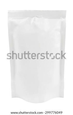 Blank plastic pouch with batcher isolated on white background