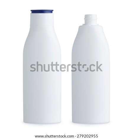 Blank plastic white cosmetics bottle, closed and open, isolated on white background - stock photo