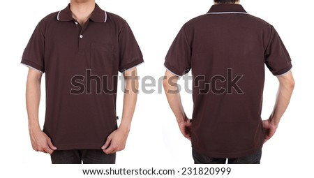 blank polo shirt set (front, back) on man isolated on white background