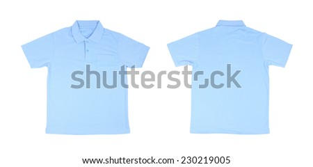 blank polo shirt set (front, back) on white background - stock photo