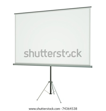 Blank portable projection screen over white background. 3D rendered image - stock photo