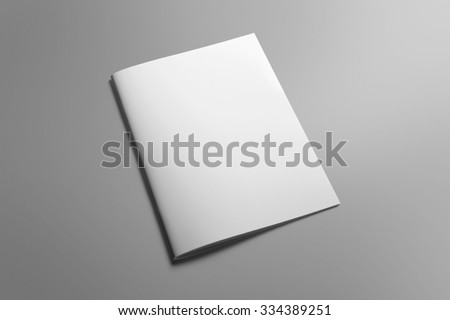 Blank portrait A4, US-Letter, brochure magazine isolated on gray, with clipping path, changeable background - stock photo