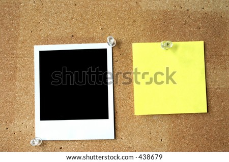 blank post-it and photo - stock photo