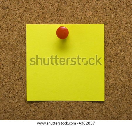 Blank post it note with tack and cork background