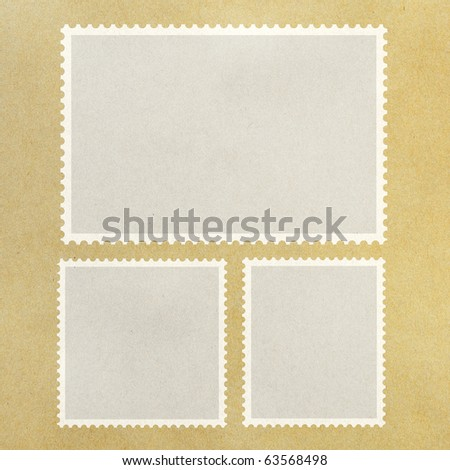 Blank Postage Stamp Framed on Brown Paper. - stock photo