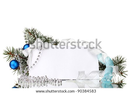 blank postcard, Christmas balls and fir-tree isolated on white
