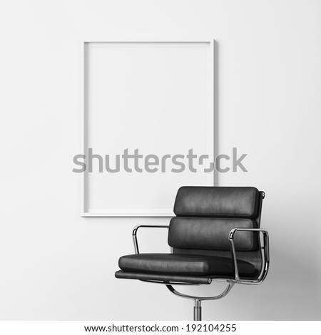 Blank poster and black office chair - stock photo