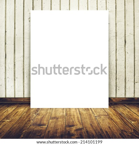 Blank poster as copy space template for your design in Vintage empty Room interior with white concrete brick wall and wooden floor. - stock photo