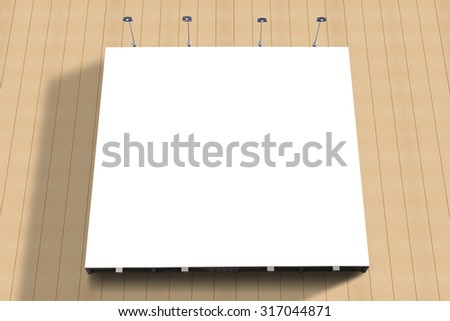 Blank poster billboard attached wall with copy space for your text message or content in modern shopping mall. - stock photo