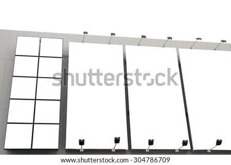 Blank poster billboard wall with copy space for your text message or content in modern shopping mall on white background. - stock photo