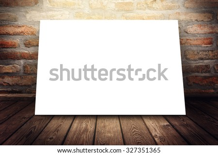 Blank poster mock up as copy space under gallery spotlight, graphic design background